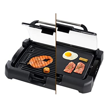 Secura GR-1503XL 1700W Electric Reversible 2 in 1 Grill Griddle w/ Glass Lid Indoor Outdoor