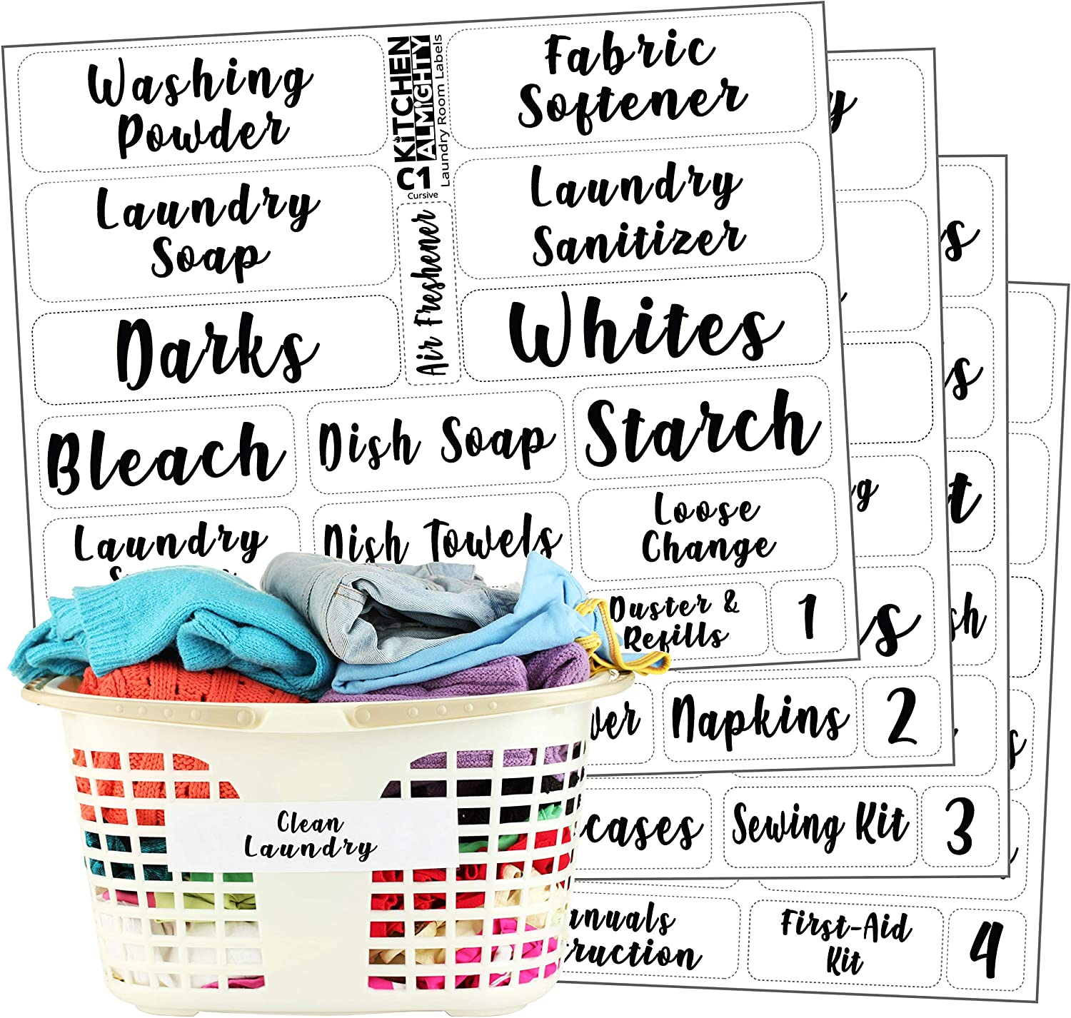 Laundry Room Organization Clear Labels: 85 Attractive Feminine Gloss Preprinted Water Resistant Label Set to Organize Laundry w/Extra Write-on Stickers
