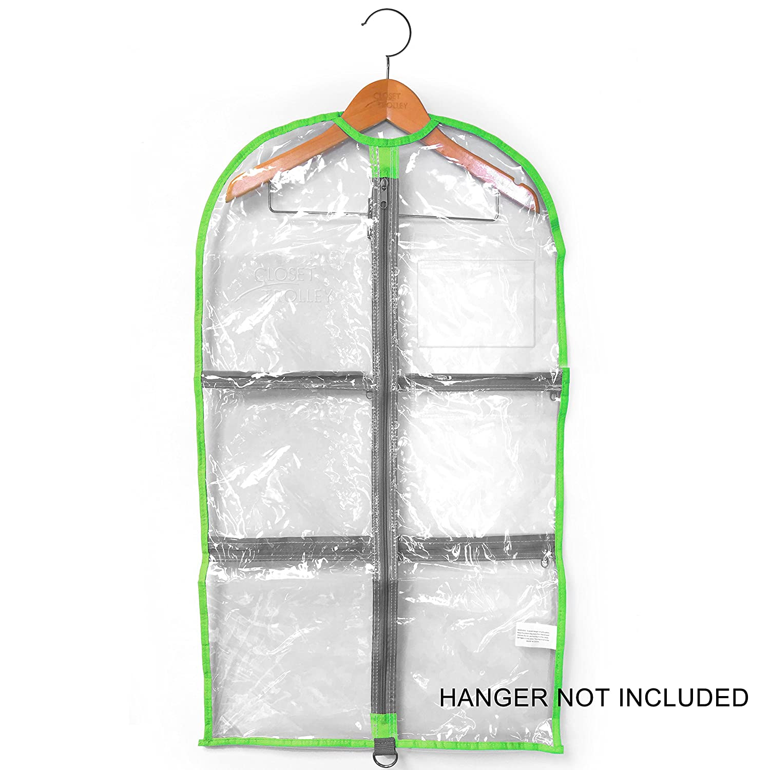 LONG Garment Bag 18 x 37 - Lime Green/Clear ELK Promotions Inc. CT1837