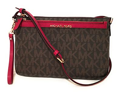 1dbcd5d20b4532 ... discount code for michael michael kors jet set travel large pocket  messenger bag brown cherry 9aa79