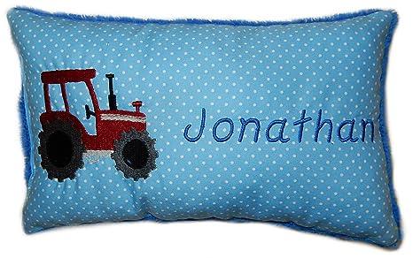 Azul Cojín * Manta Cojín Tractor rojo * * con nombre bordado ...