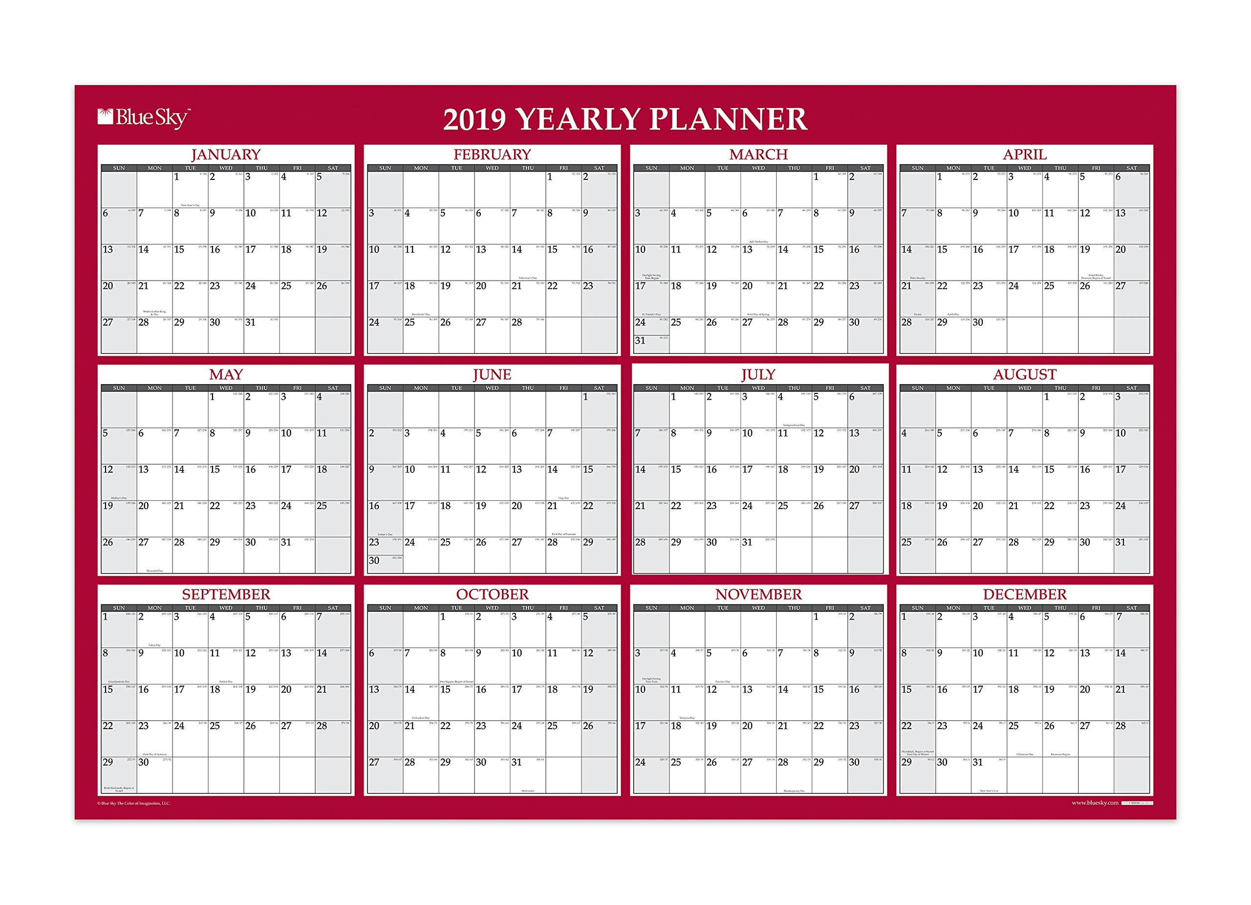 Blue Sky Monthly Office Wall Calendar, Red, 48 inch x 32 inch (100034-19)