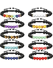 LOLIAS 8-10 Pack Bead Gemstone Bracelet for Men Women Natural Stone Diffuser Bracelet Stretch Yoga Bracelets