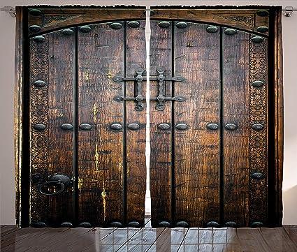 Amazon Ambesonne Rustic Decor Collection Ancient Wooden Door Best Wooden Living Room Exterior