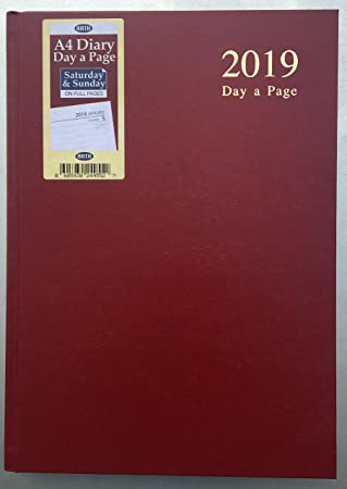 Agenda de a día por página 2019, tamaño A4, con tapa dura, con página completa para sábado y domingo, agenda de escritorio DAP, color granate A4 (29 X ...