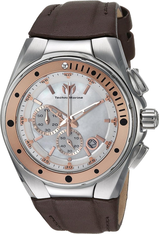 Technomarine Women s Manta Stainless Steel Quartz Watch with Leather Calfskin Strap, Brown, 25 Model TM-216003