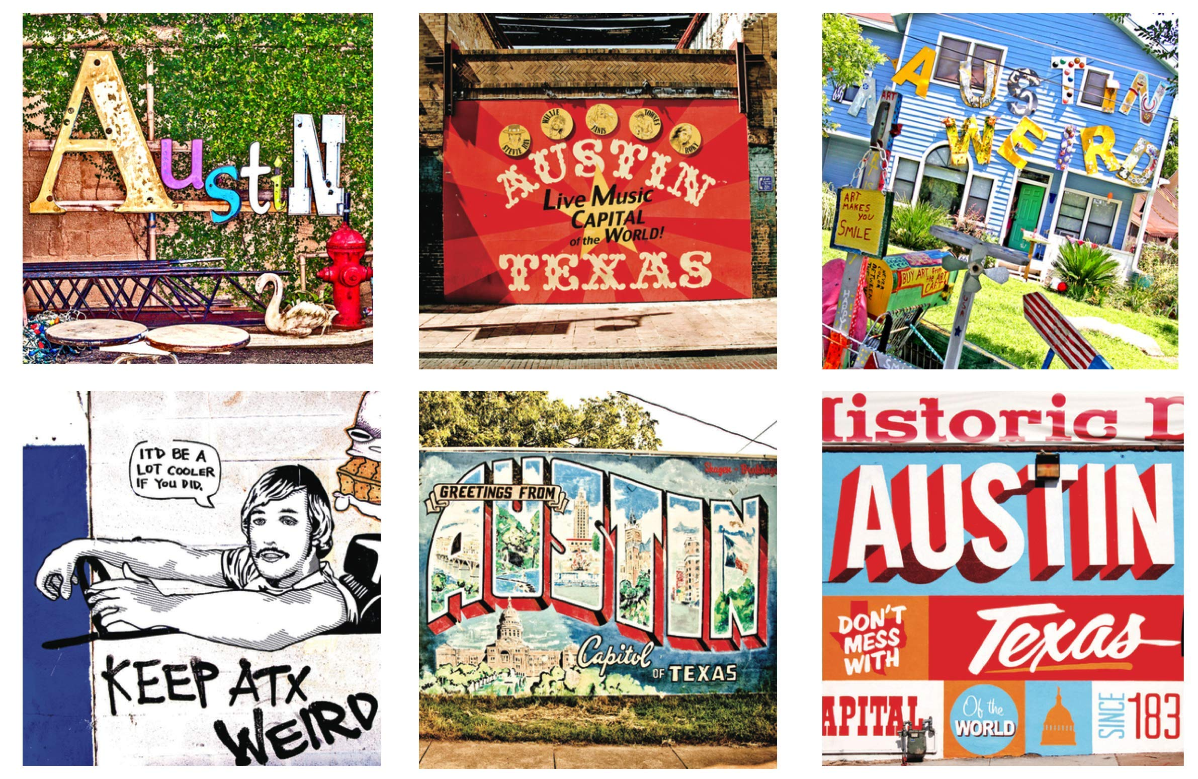 SOUTH AUSTIN GALLERY- Handcrafted Austin Coaster Set - Ceramic Coasters- Set of 6- Vibrant Mural Art-Hostess Coaster Set -Made and Inspired In Austin, Texas