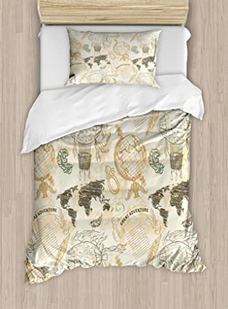Ambesonne World Map Duvet Cover Set, Pattern with Vintage Globe World Map  Airship Rope Knots Ribbon Retro Print, Decorative 2 Piece Bedding Set with  1 ...