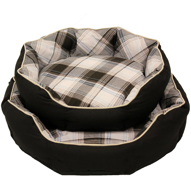 Mool Hundebett, achteckig, gepolstert, Breite 50 cm, Schwarz-Weiß:  Amazon.de: Haustier