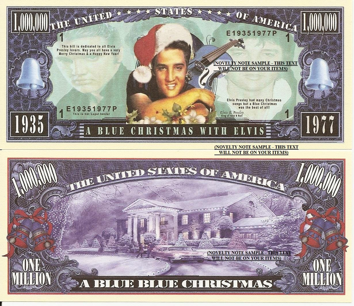 Novelty Dollar Elvis Presley a Blue Christmas Million Dollar Bills x ...