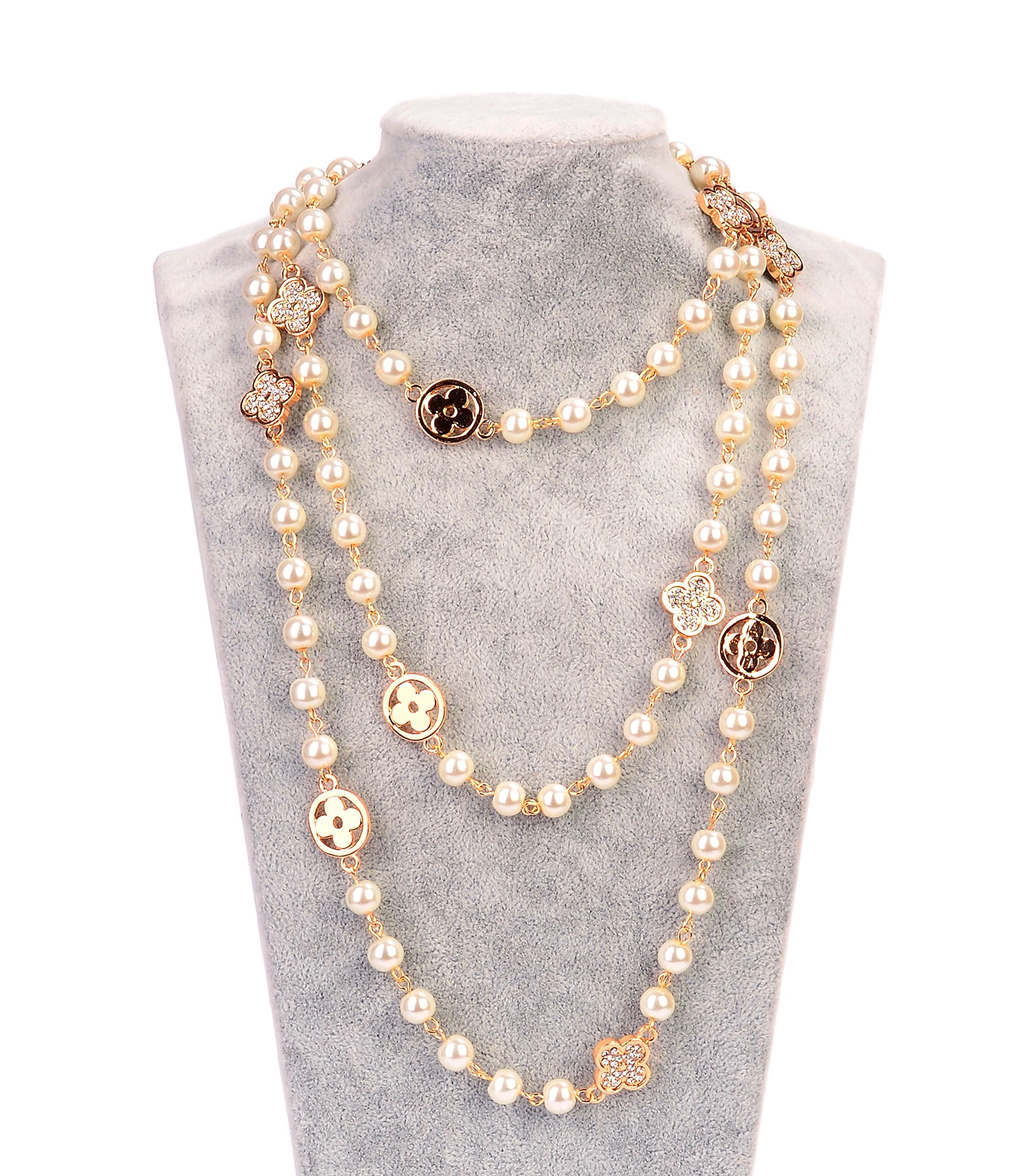 Fashion Jewelry MISASHA Bridal Chic Long Imitation Pearl 4Leaf Clover Strand Necklace (Gold Clover)
