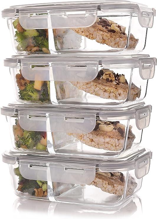 Amazon.com: Set de 4 contenedores de comida, para ...
