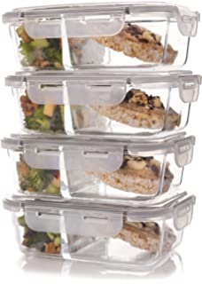 set of 4 divided glass meal prep containers u2013 food storage containers with locking lids and