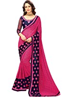 Online Fayda Women's Georgette Saree (Of221_Pink)