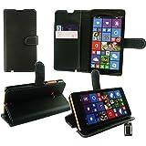 Emartbuy® Microsoft Lumia 435 / Lumia 435 Dual Sim Premium Funda Wallet Soporte Carcasa Case Cover PU Cuero Negro con Tarjeta de Crédito Slots