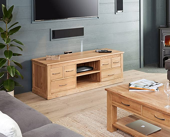 baumhaus mobel oak widescreen television cabinet amazon co uk kitchen home