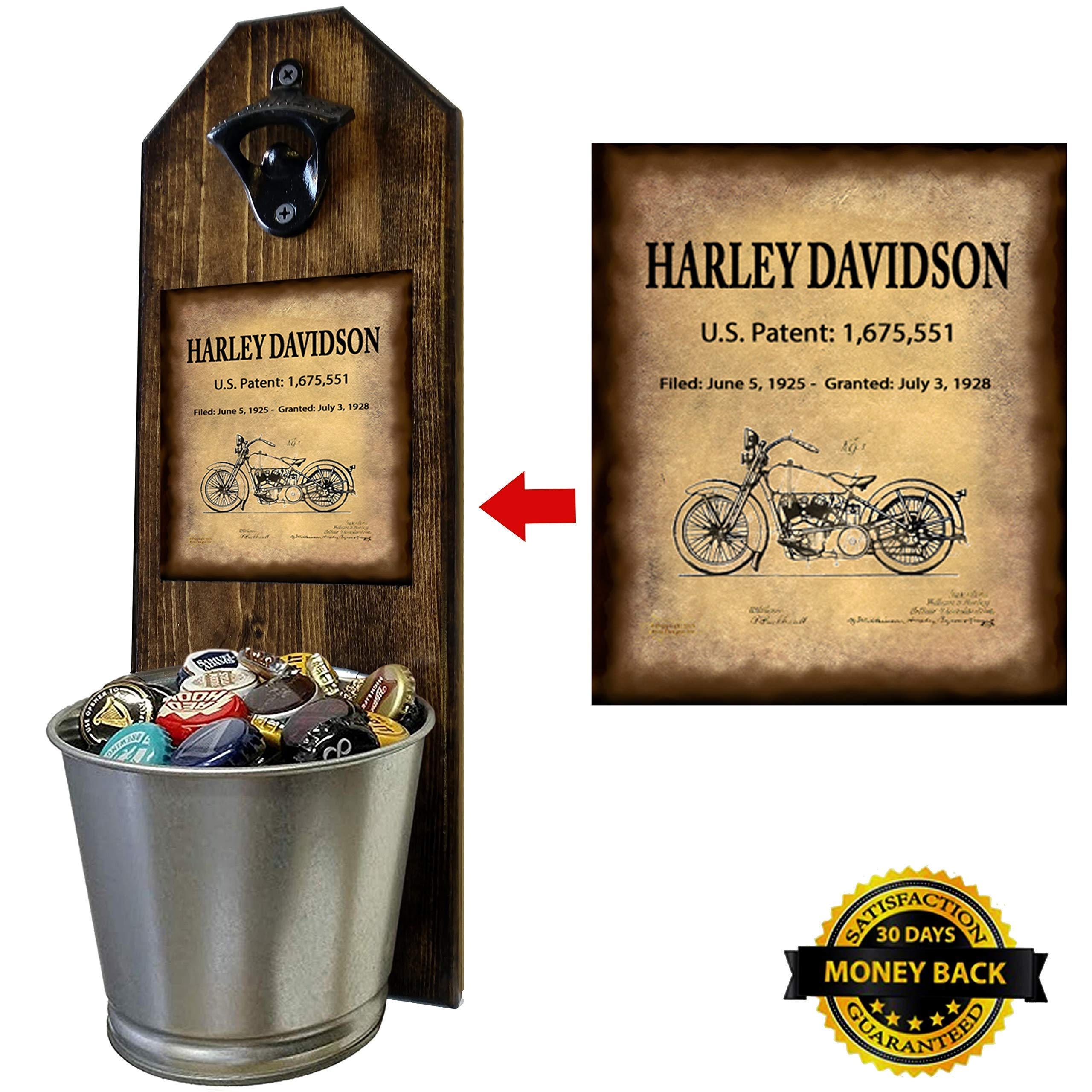 ''Harley Davidson - Motorcycle Patent of Vintage Bike'' Wall Mounted Bottle Opener and Cap Catcher - Made of 100% Solid Pine 3/4'' Thick - Rustic Cast Iron Opener and Galvanized Bucket by CherryPic Junction