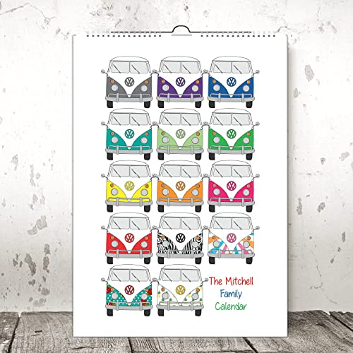 Personalised Any Month Start Wall Calendar Campervan 1 2 3 Or 4