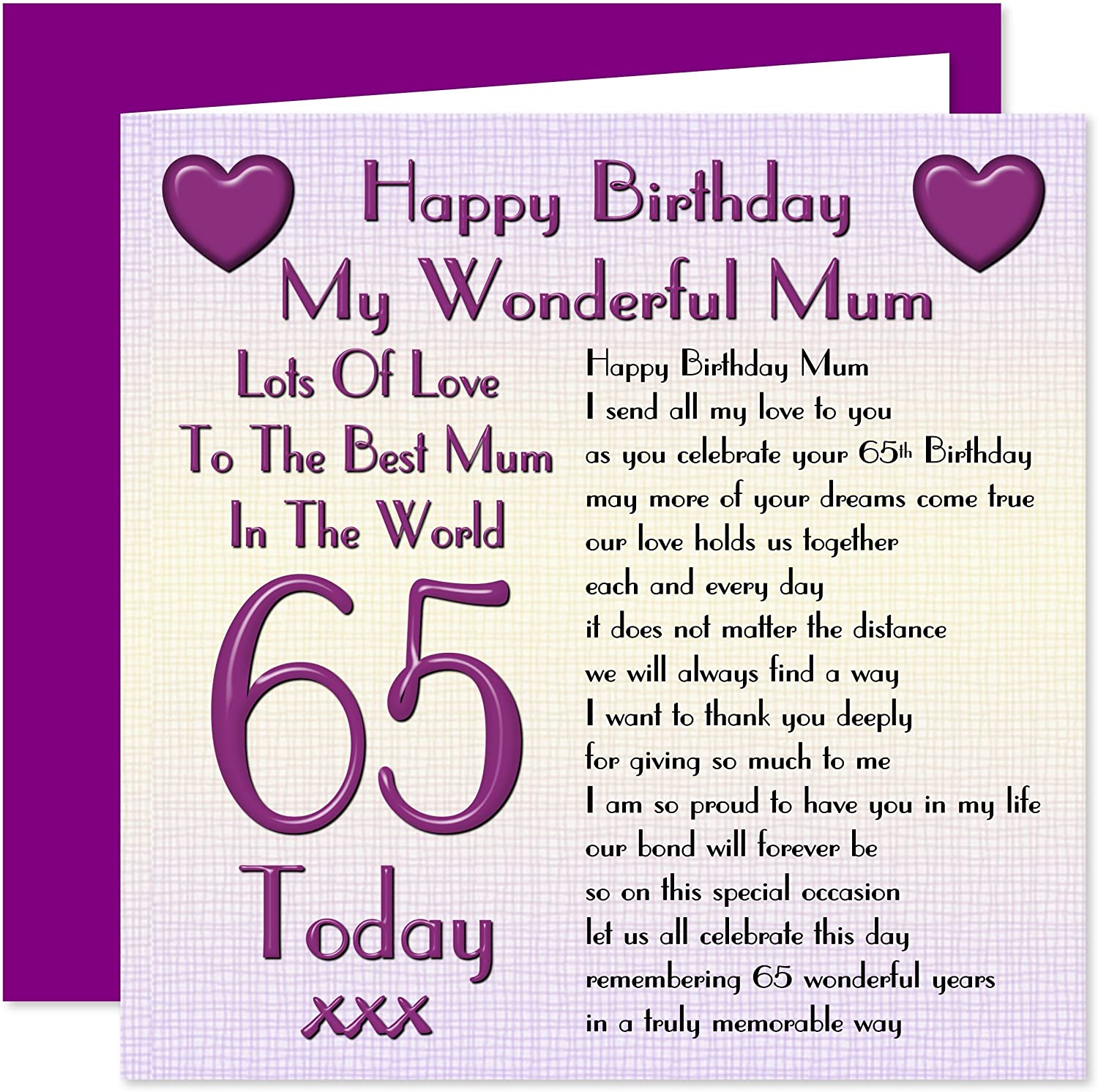 Fine Mum 65Th Happy Birthday Card Lots Of Love To The Best Mum In The Personalised Birthday Cards Bromeletsinfo