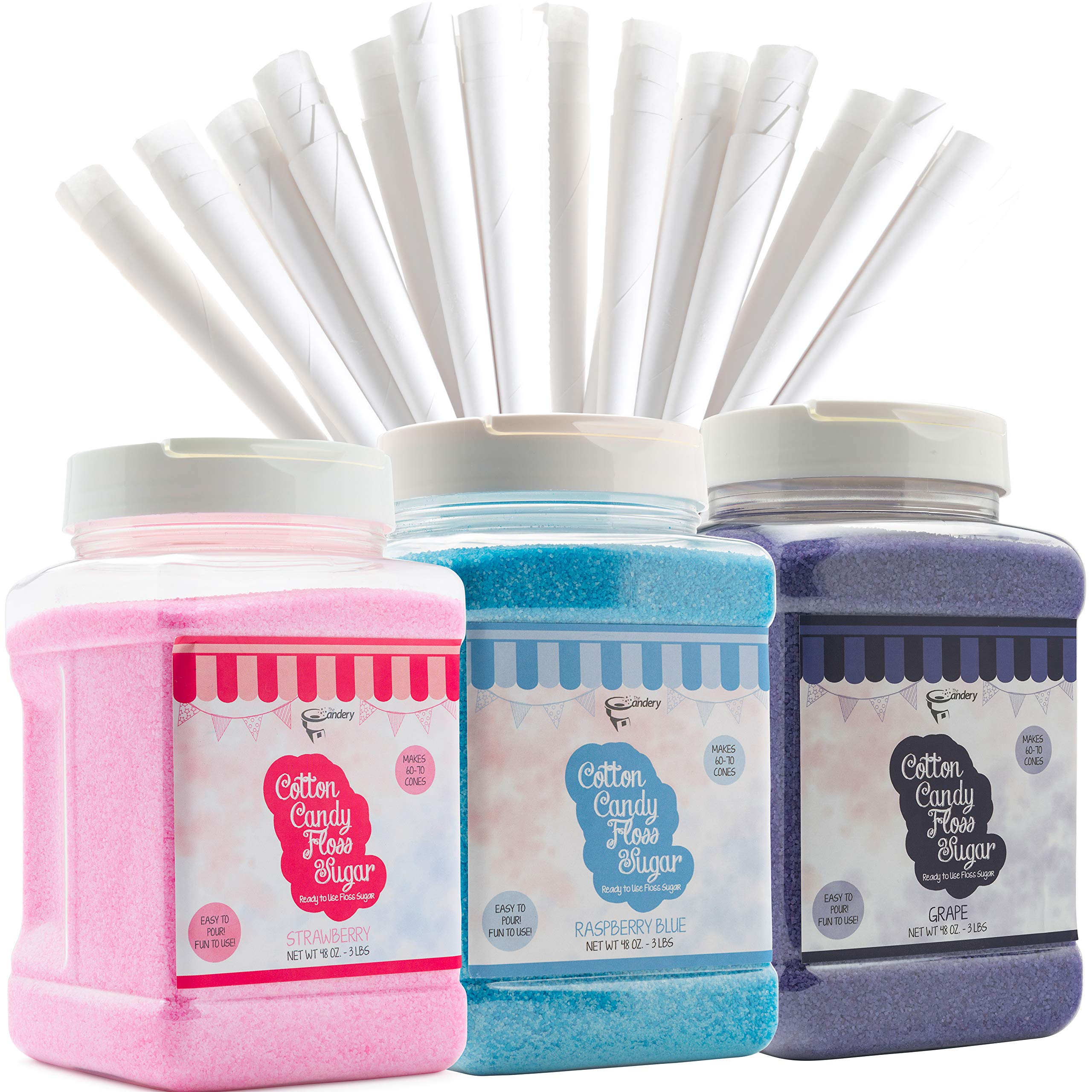 The Candery Cotton Candy Floss Sugar (3-Pack) Includes 100 Premium Cones (3-Pack 46oz with 100 Cones) by The Candery (Image #1)