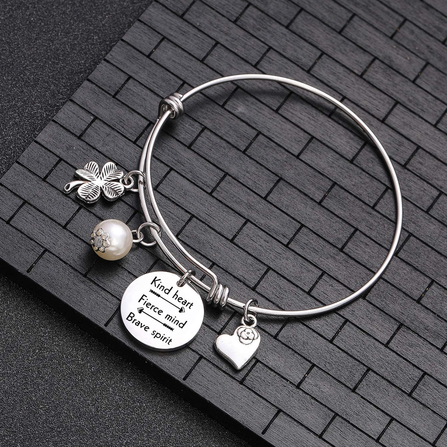 TzrNhm Blossom Inspirational Jewelry Let Your Faith be Bigger Than Your Fear Bracelet Bangle