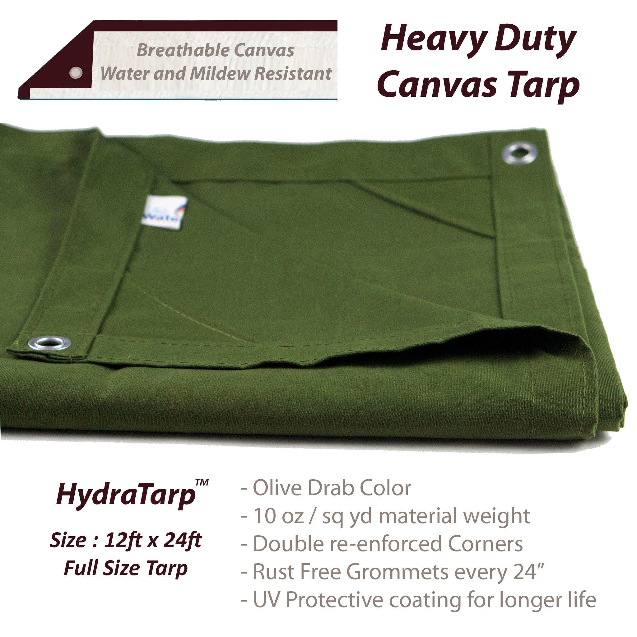 HydraTarp Canvas 12 Ft. X 24 Ft. Olive Drab Tarp - 10oz weight