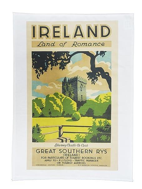 Retro Style Travel Poster Large Cotton Tea Towel Visit Iceland
