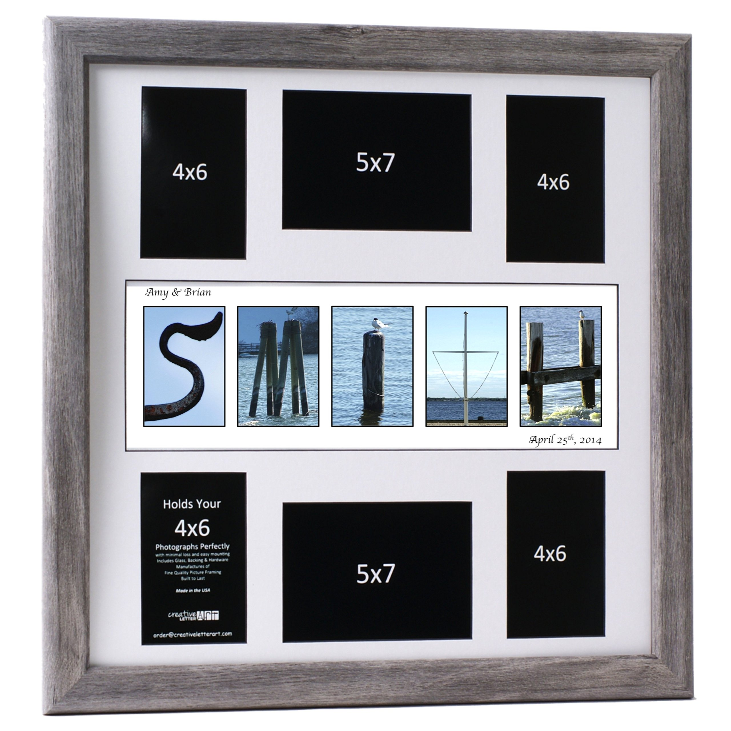 Creative Letter Art� - Personalized 20 by 20 inch Framed Beach and Nautical Related Name Collage which holds 4x6 and 5x7 inch Photographs with Wedding Registry Mat by Creative Letter Art