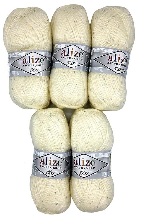 5 X 100g Alize Wolle Mit Mohair Und Pailletten Zum Stricken Und