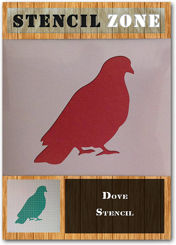 A4 Taille Pochoir - Petit Oiseau Colombe Sitting Mylar animal Airbrush Peinture murale Art Pochoir cinq