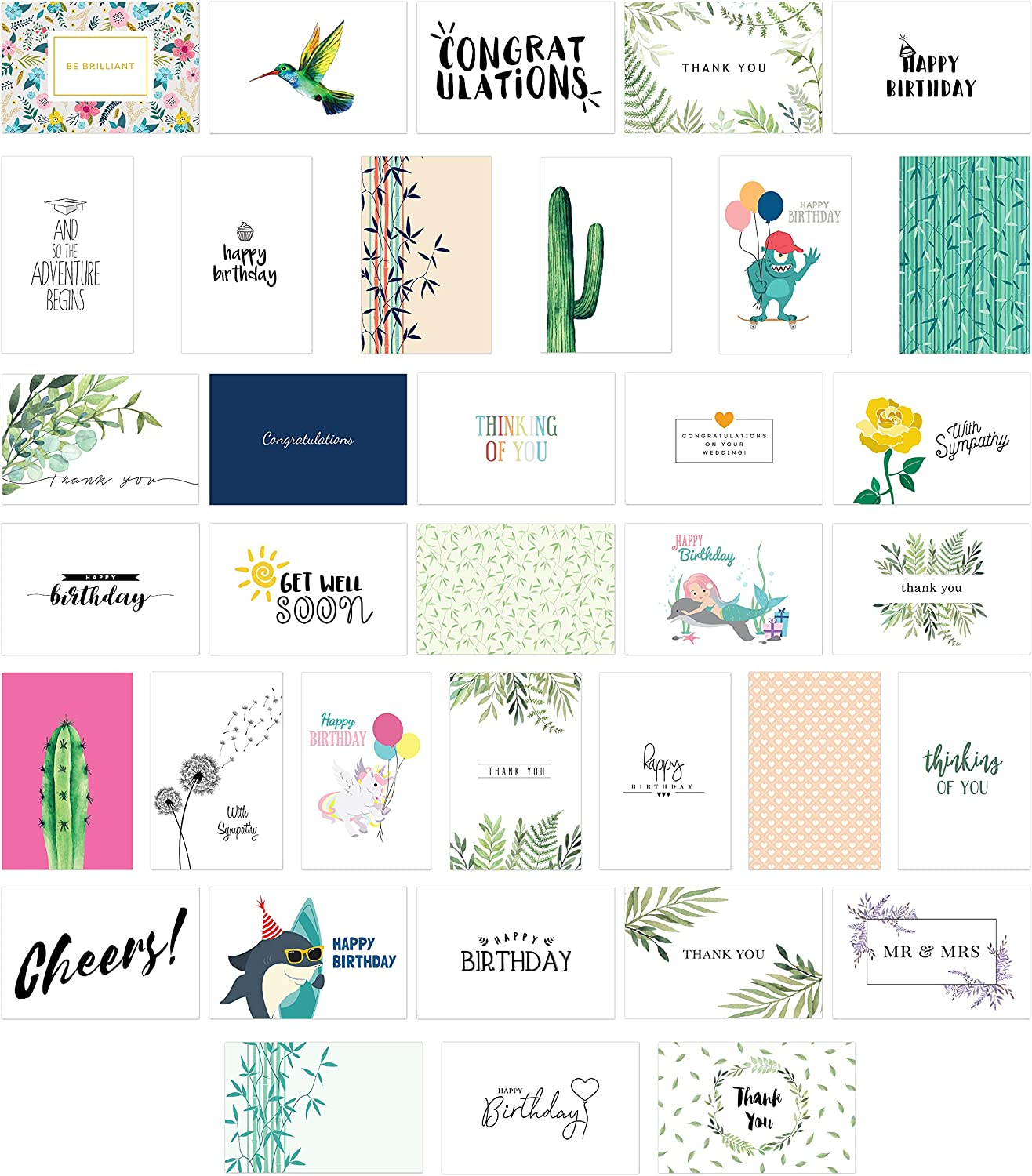 All Occasion Greeting Cards Assortment 30 Pack Greeting Cards for Birthdays Baby Christmas Envelopes and Sealing Stickers Included Thank You Green Sympathy