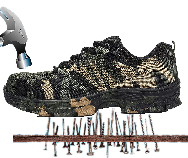 Axcer Mixte Chantiers Adulte Chaussure de Sécurité Respirant Chaussure de Camouflage Baskets Travail Embout de Protection en Acier Semelle de Protection Anti-Smash Prévention des piqûres Bottes Baskets Chantiers et Industrie Camouflage Vert 1646858 - automaticcouplings.space
