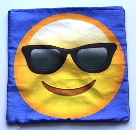 46 cm carré double face Housse de coussin emoji – Lunettes