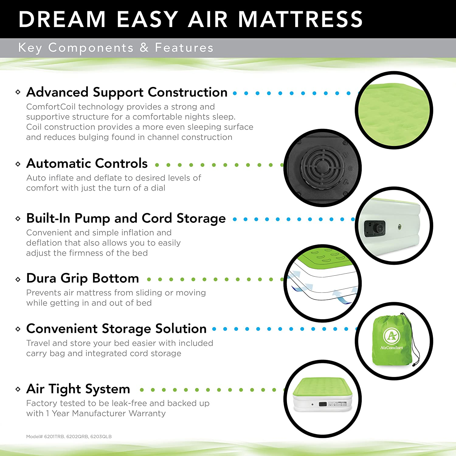 amazoncom air comfort dream easy inflatable air mattress lowprofile bed with internal air pump queen sports u0026 outdoors