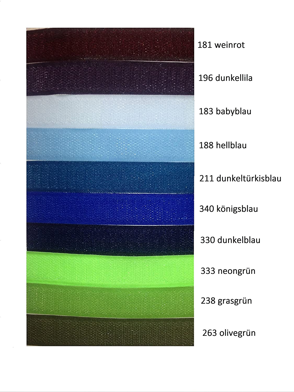 FIM Velcro riapribile, in velcro per il cucito, Meterware, 20mm di larghezza, incl. Ganci e Ratina lato, colori 12–21 181 - weinrot