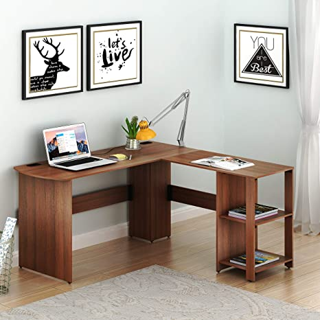 Amazon Com Shw L Shaped Home Office Wood Corner Desk Walnut Kitchen Dining
