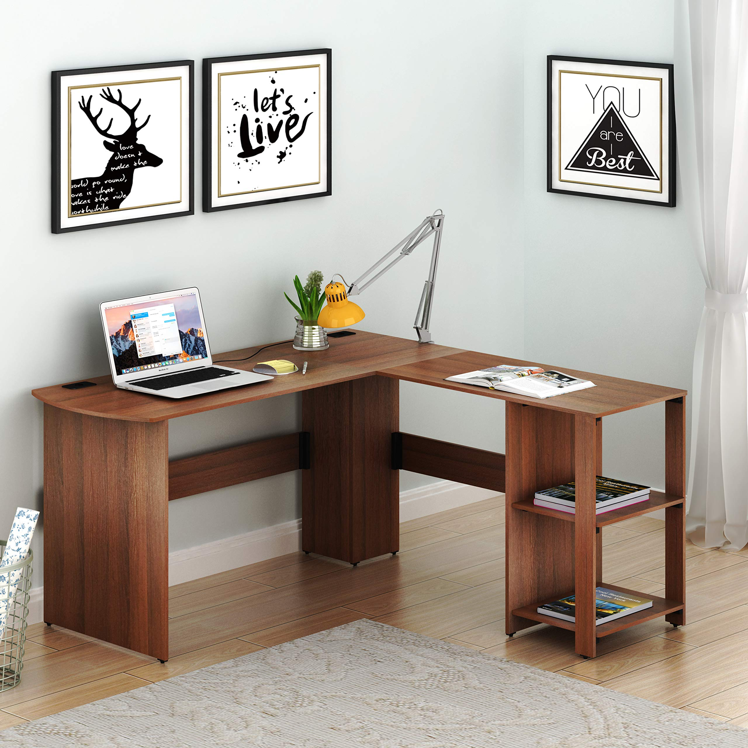 SHW L-Shaped Home Office Corner Desk Wood Top, Walnut by SHW
