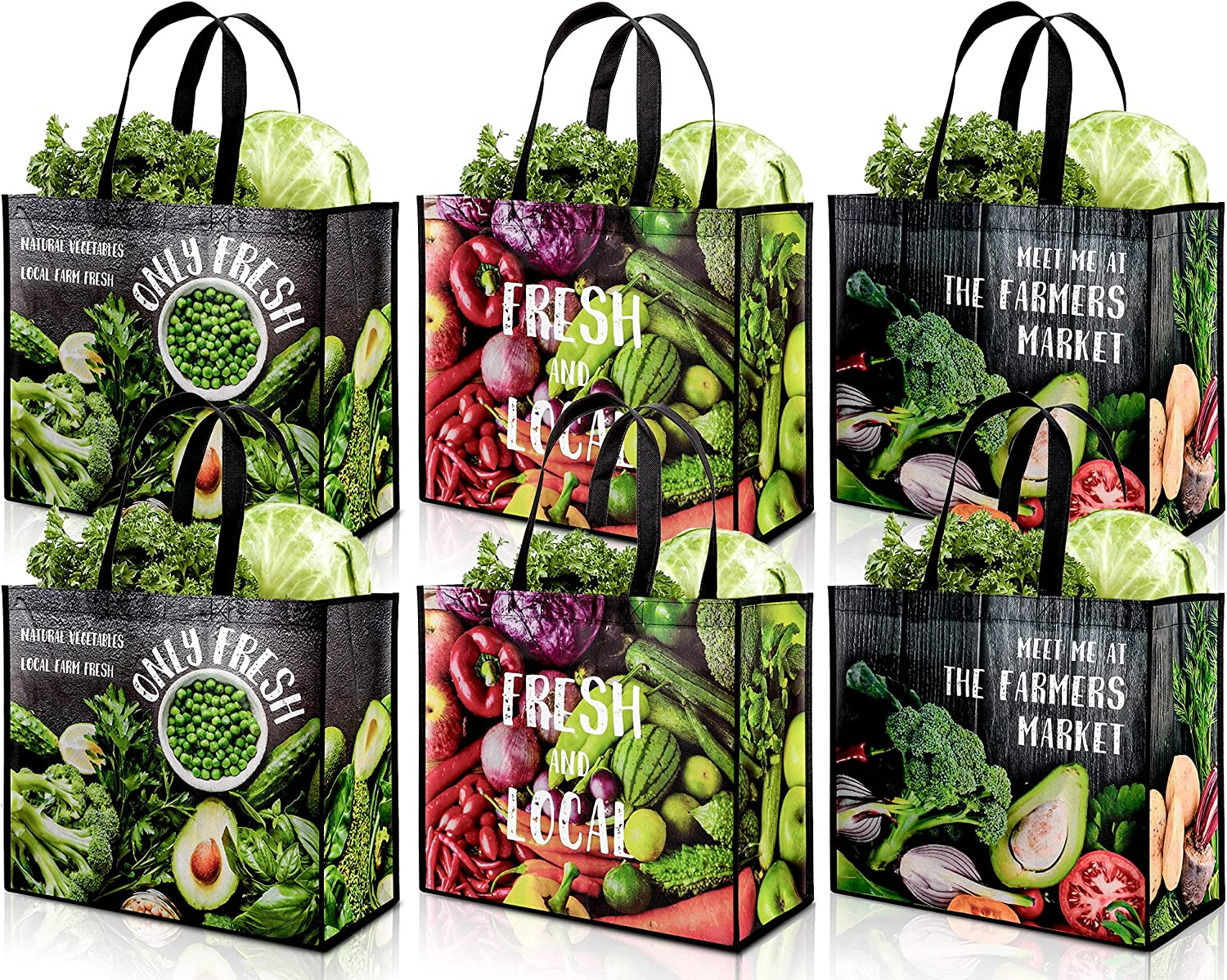 Whaline 12 Pack Extra Large Reusable Grocery Shopping Bags Vegetable Pattern Bags with Handles Extremely Durable Waterproof Foldable Totes Food Storage Farmer Market Bag