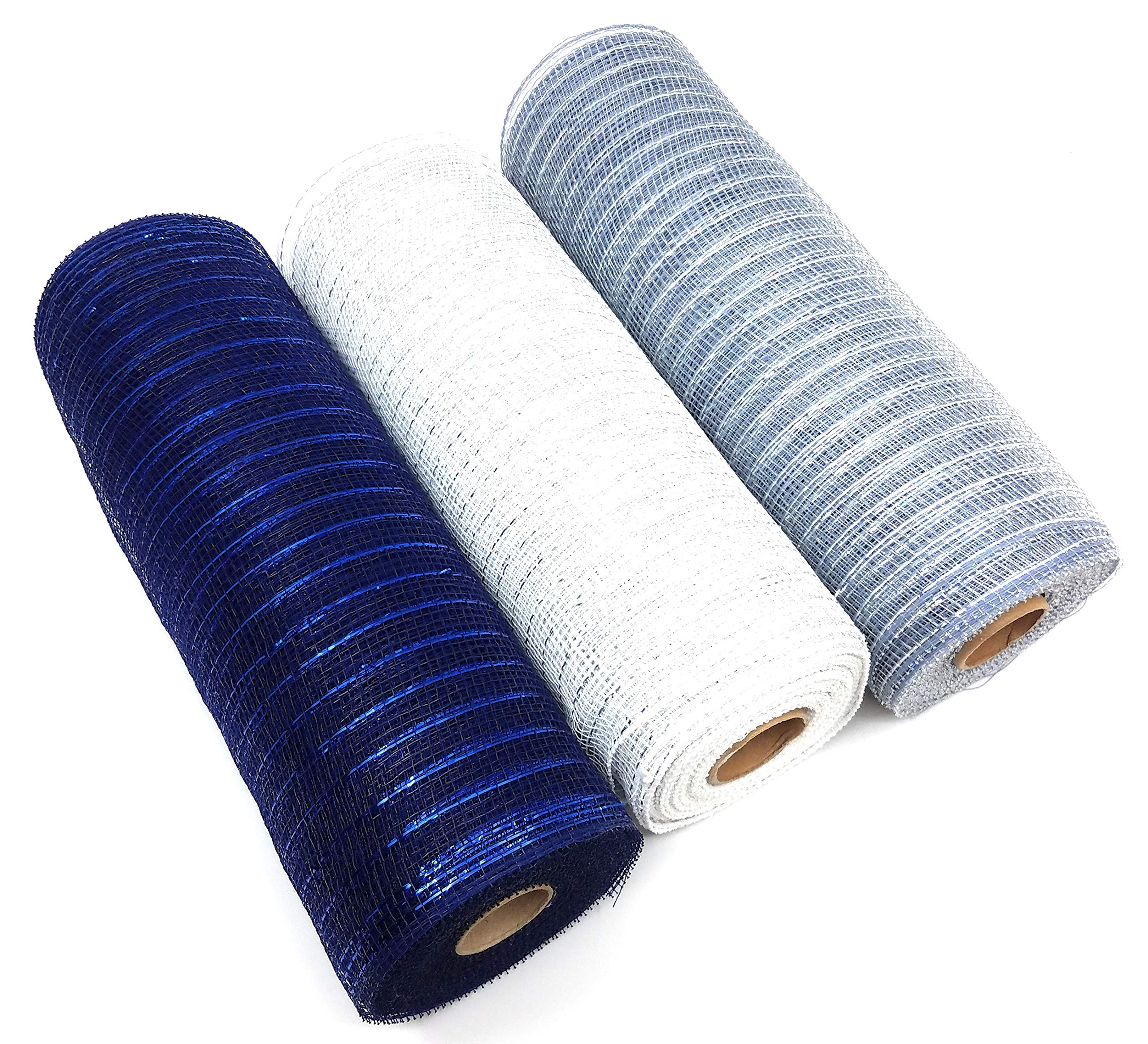 Football Themed 10'' Metallic Deco Mesh Rolls (White, Silver, Navy Blue)
