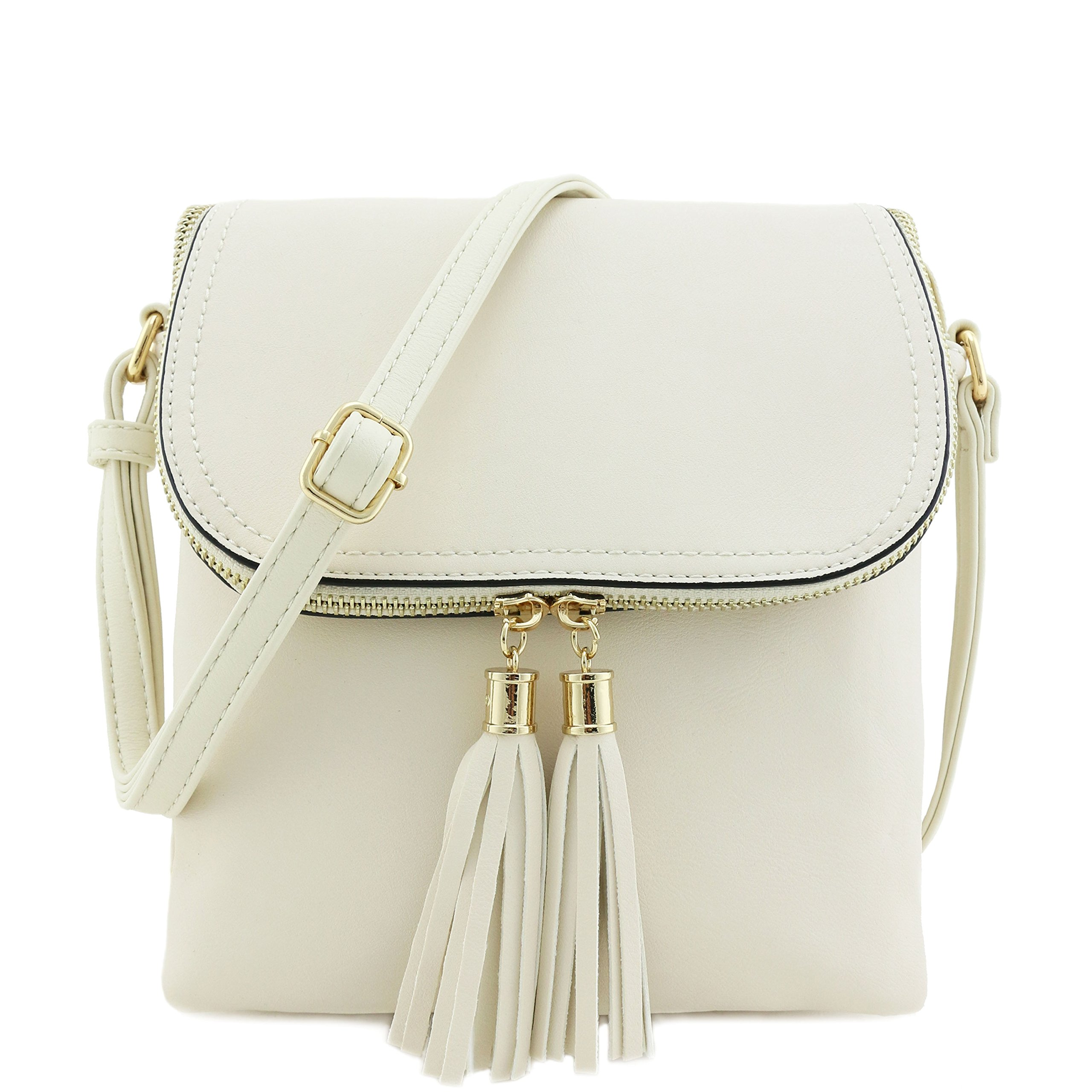 Flap Top Double Compartment Crossbody Bag with Tassel Accent Ivory