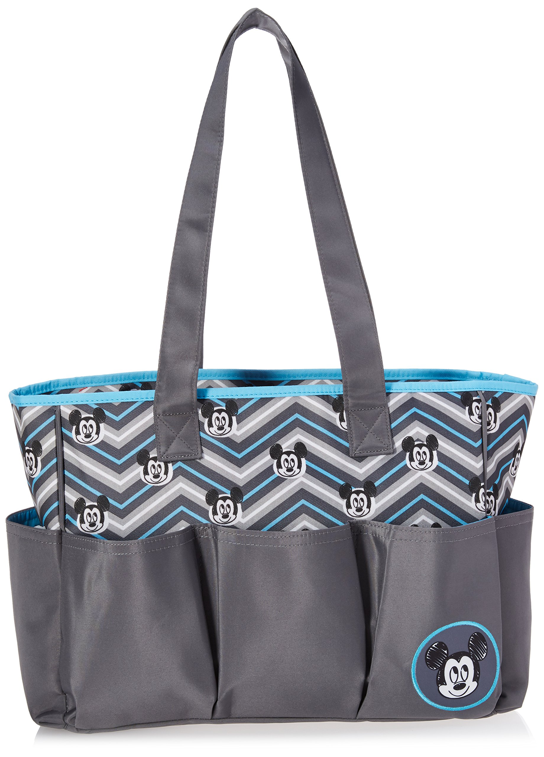 Disney Mickey Mouse Triple Pocket Multi Piece Diaper Bag Set, Chevron Print, Grey/Blue by Disney (Image #1)
