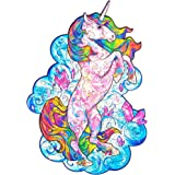 Unidragon Wooden Jigsaw Puzzles – Unique Shape Jigsaw Pieces Best Gift for Adults and Kids Inspiring Unicorn 7 x 9.5 in…