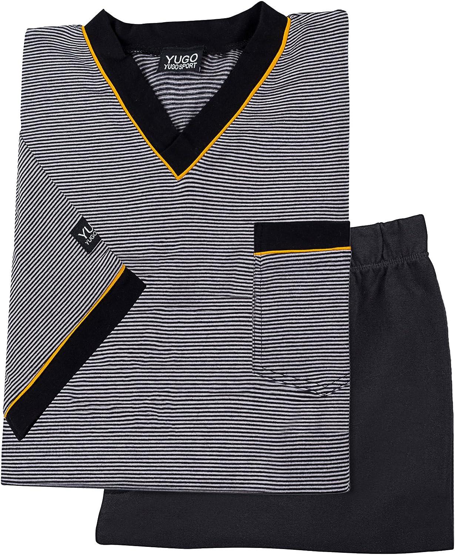 Yugo Sport Mens Pajamas – Cotton Sleepwear - Luxury Knit Pajama Set - Short Sleeve Long Pant