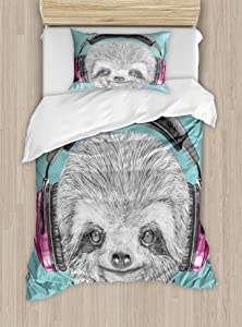 Ambesonne Sloth Duvet Cover Set, DJ Sloth Portrait with Headphones Funny Modern Character Cool Smiling, Decorative 2 Piece Bedding Set with 1 Pillow Sham, Twin Size, Teal Grey