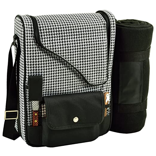 Picnic at Ascot - Wine Carrier Deluxe with Glass Wine Glasses, Blanket, Accessories for Two, Houndstooth