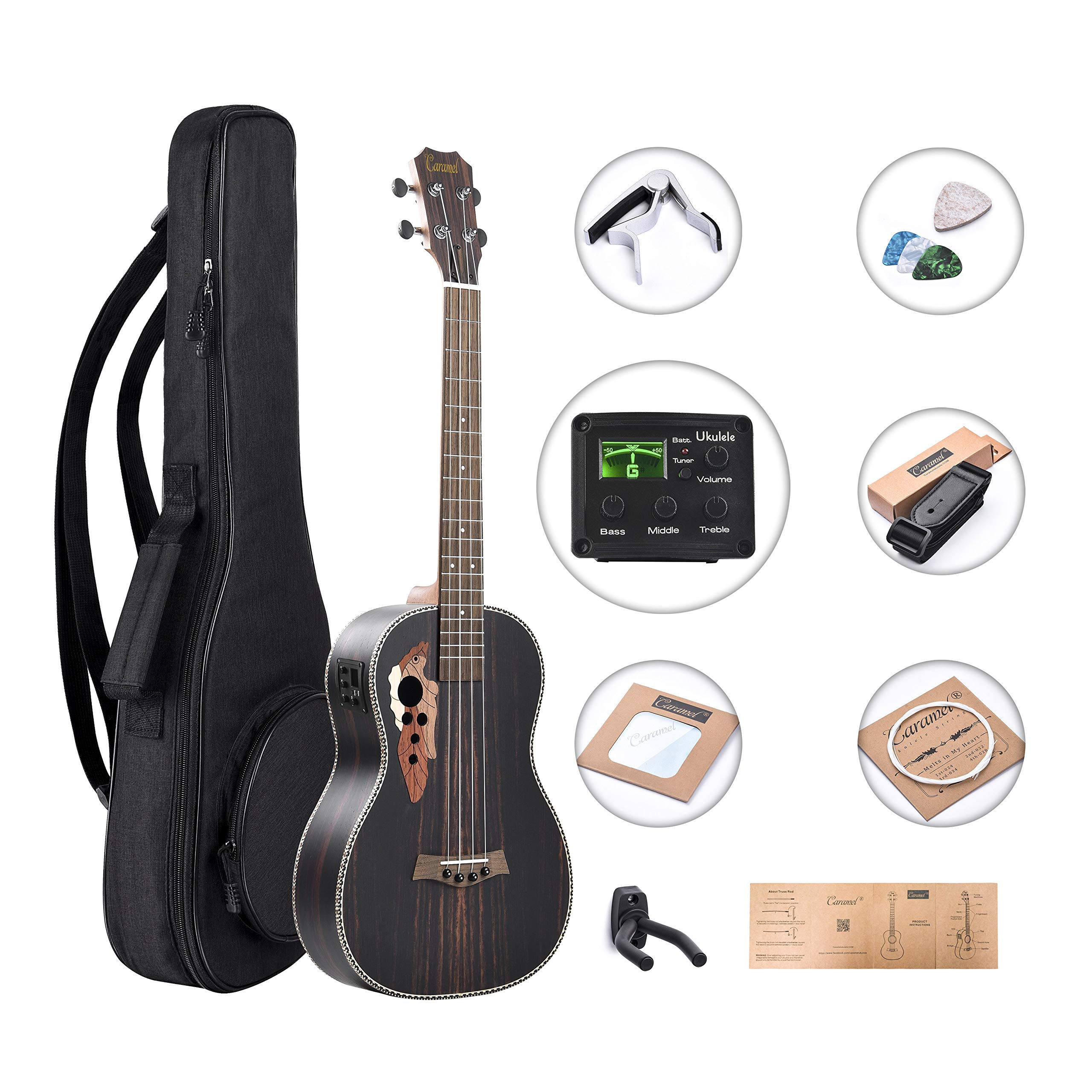 Caramel CB904 Ebony Baritone Acoustic Electric Ukulele with Truss Rod with D-G-B-E Strings & free G-C-E-A strings, Padded Gig Bag, Strap and EQ cable