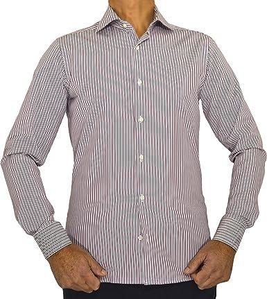 E. MECCI PROMOCIÓN DE Verano Camisa de Hombre Made in Italy 100% algodón Rayas Rojo y Azul Slim Fit Manga Larga: Amazon.es: Ropa y accesorios