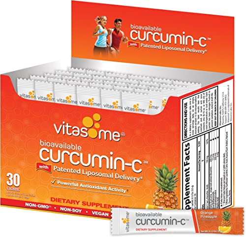 Curcumin-C Liposomal Dietary Supplement for Muscle Aches, Inflammation-Curcuma Longa Root Extract, Vitamin-C with Citrus Bioflavonoids, Black Pepper, Sunflower Lecithin 30 Sachets, Orange Pineapple