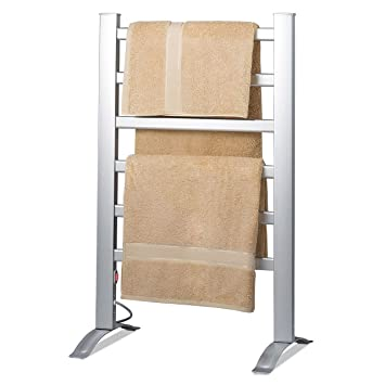 aluminum towel warmer rack freestanding wall mountable bar electric warm bath hot water heated costco best free standing