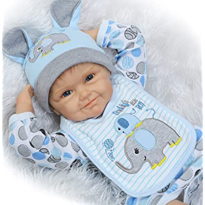 "NPK Realistic Reborn Dolls Baby boy 22"" Soft Silicone Vinyl Lifelike Handmade Weighted Baby Toddler Gifts Elephant Outfit Gift Set for Ages 2+: Home & Kitchen"